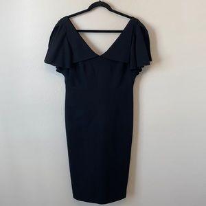 Ted Baker Black V-Neck Wool Dress Size 3